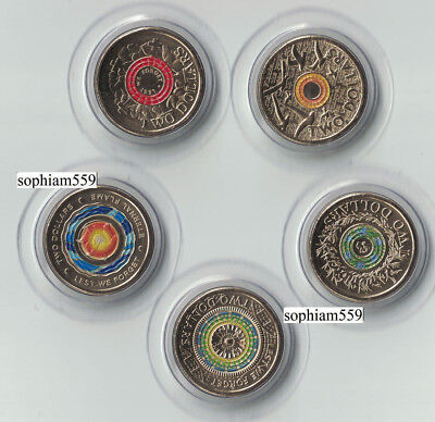 Australia 2018 $2 30th Anniversary UNC coin Lest We Forget Remembrance Flame x 5