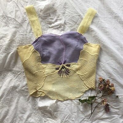 Rare Vintage Linen & Lace Camisole Lingerie Made c. 70s w 30s Pansy Fabric Small