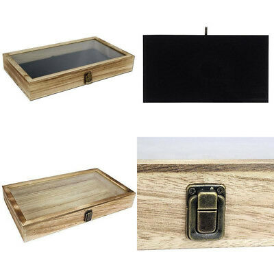 Display Box Wood Glass Top Lid Black Pad Case Medals Awards Jewelry Holder Oak