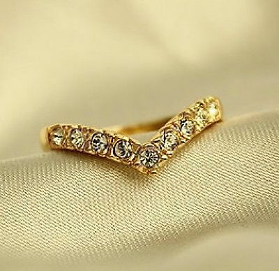 Gold Plated Princess Queen Ring Heart Rhinestone Diamond Rings ~1pc~