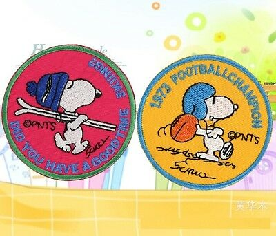 FD814 Embroidered Cloth Iron On Patch Sew Motif Applique Cartoon Dog ~2PCs~