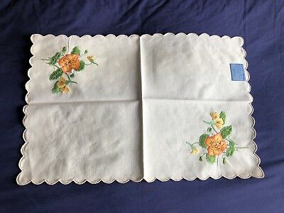 Vintage Hand Embroidered Indian Mission Cotton Table Centrepiece / Tray Cloth
