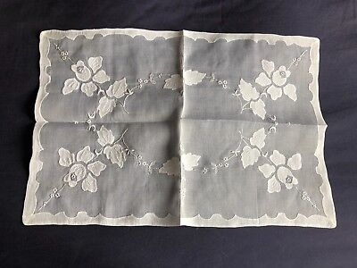 Superb Vintage White Organdie Madeira Work Embroidered Tray Cloth / Table Centre