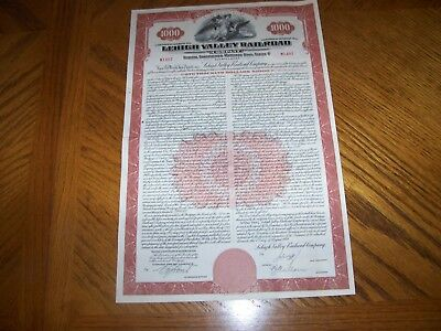Set of 5 Lehigh Valley Railroad Bond Certificate with Coupons. Brown