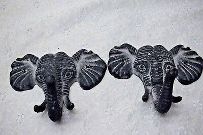 Pair Heavy Iron Hooks - African Elephant Heads with Tusk