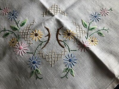 Super Vintage Floral Hand Embroidered Medium Square White Irish Linen Tablecloth