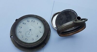 Vintage Classic Car Dashboard Clock And Goliath Pocket Watch Case For Spares