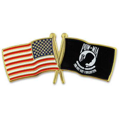 PinMart's USA and POW Crossed Flags Lapel Pin