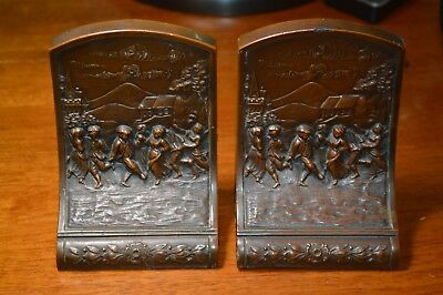 Antique 1900's Pair J.B.Jennings Bros.Cast Spelter Metal Brass Finish Bookends