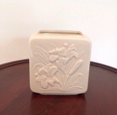 """Classic LENOX China TIGER LILY Vase Square Shape 24K Gold Hand Painted Trim 4.5"""""""