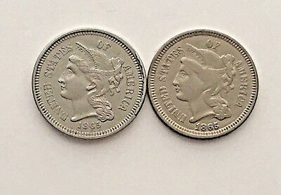 1865 3 Cent Nickel-Lot of 2