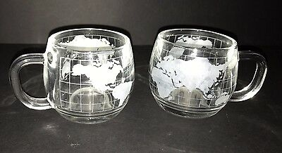 Set of 2 Nestle Nescafe Etched Frosted Heavy Glass World Map Globe Mugs