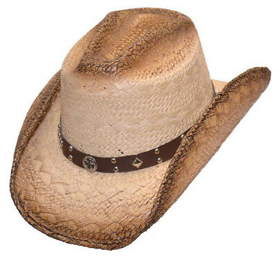 4fd26542e43 FRONT PINCH DARK Brown Western Cowboy Straw Hat with Silver Band ...