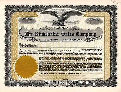 The Studebaker Sales Company of Ohio early 1900's unissued Stock Certificate