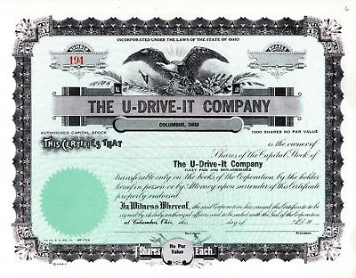 The U-Drive-It Company of Columbus, Ohio early 1900's unissued Stock Certificate