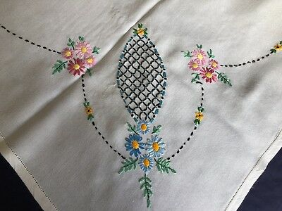 Pretty Vintage Floral Hand Embroidered Lge. Square Cotton & Rayon Mix Tablecloth