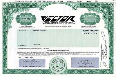 The Vector Aeromotive Corporation 1999 uncancelled Stock Certificate