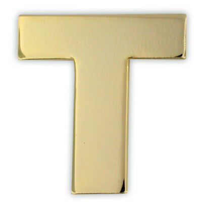 PinMart's Gold Plated Alphabet Letter T Lapel Pin