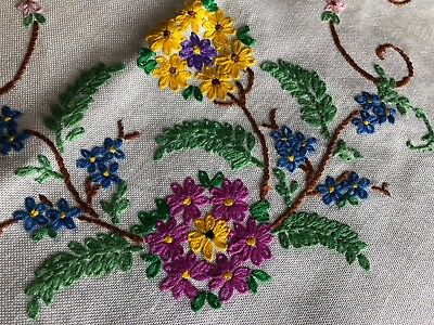 Lovely Vintage Floral Hand Embroidered Small Square Cotton Rayon Mix Tablecloth