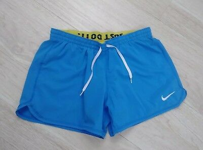 Nike Running Shorts Womens S Small Lined Fit Dry Just Do It Blue Yellow