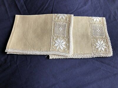 Pair Small Vintage Hand Embroidered Cypriot Lefkara Work Beige Linen Tray Cloths