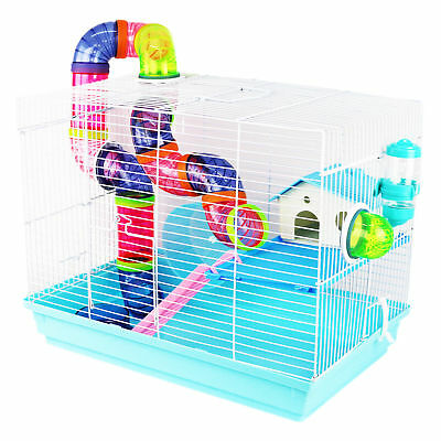 Pet Ting Peach Hamster Cage With Tubes Gerbil Mouse Dwarf Mice Wheel Blue