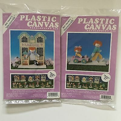 2 Design Works Martinsville Village Plastic Canvas Kits Market Wagon 604 607