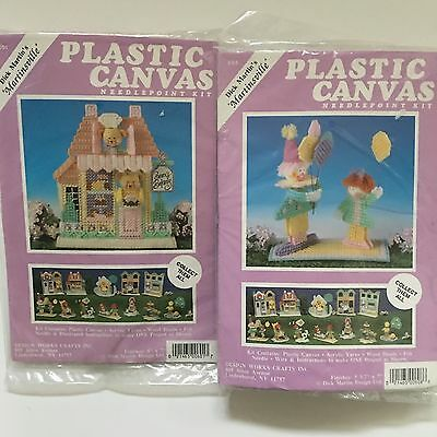 2 Design Works Martinsville Village Plastic Canvas Kits Bears Bakery 601 608 New