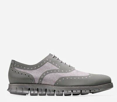 🔥$270 COLE HAAN ZERØGRAND No Stitch Wingtip Oxford 10.5 lunar grand zero grey
