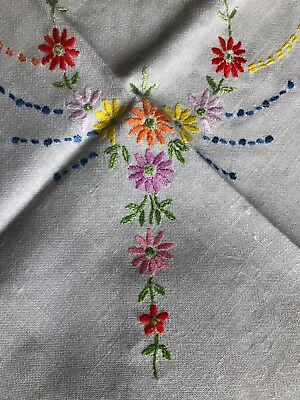 Super Vintage Floral Hand Embroidered Small Square Cotton Rayon Mix Tablecloth