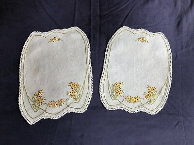 Pair Of Vintage Hand Embroidered Irish Linen Dressing Table Mats Crocheted Edges