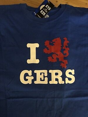 Rangers Fc I Love Gers T Shirt Brand New ( Mens XL)