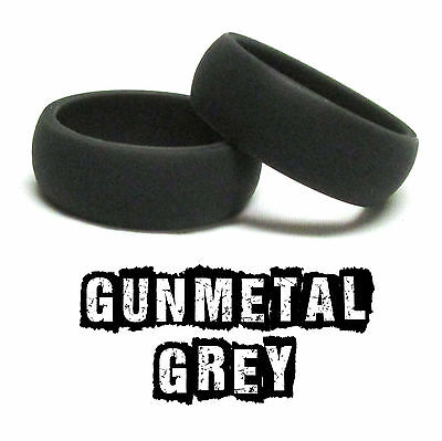 GUNMETAL GREY Silicone Wedding Ring Band - Compare to Qalo Qualo at 1/3rd price