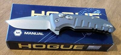 HOGUE KNIVES New Gray Aluminum Handle X-1 Micro Plain CPM154 Blade Knife/Knives