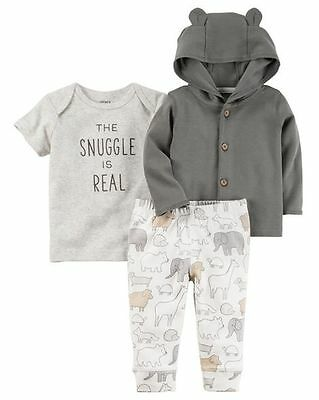 New Carter's 3 Piece Real Snuggle Cardigan Bodysuit Pant Set NWT NB 3m 6m 9m 12m