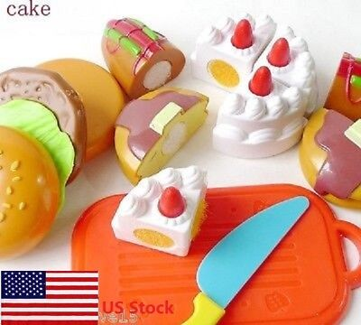 US Kids Pretend Role Play Kitchen Home Fruit Cake Food Toy Cutting Set Gift SF