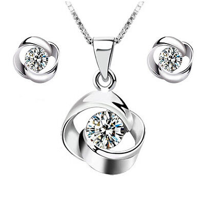2018 New products Fashion wedding jewelry Set 925 silver Rotate necklace earring