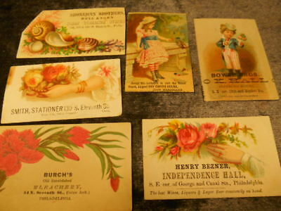 Late 1800's (6) Philadelphia, PA business cards