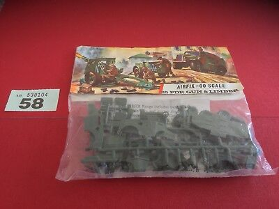 AIRFIX OO SCALE MODEL KIT 25 PDR.Gun and Limber in Type 3 Red Stripe Bag Lot 58