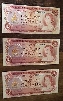 Canada 1974 $2 Dollar Bill 3 notes in total
