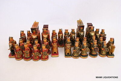 """Exquisite Wooden Chess Set Hand Painted King: 5"""" Ambabari India Vintage RARE"""