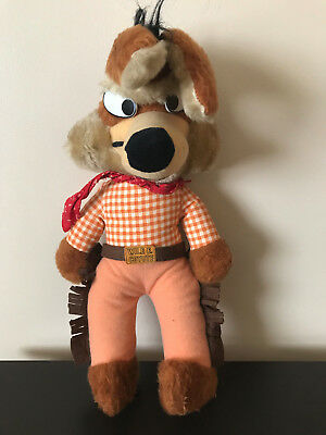 "Vintage Looney Tunes Wile E Coyote plush 18"" mighty star cowboy western 1971"