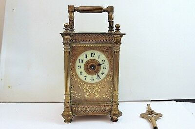 circa 1880-1900 R&CO PARIS ORNATE GOTHIC 8-DAY CARRIAGE CLOCK IN GOOD CONDITION