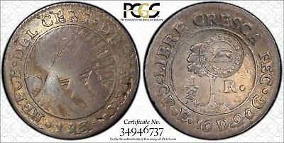 Costa Rica Silver 1/2 Real Type VI c/m (1849-57) on 1831E 1/2 Real PCGS XF40