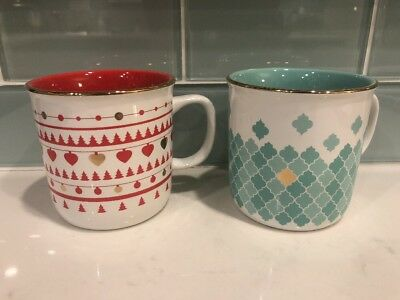 Davids Tea Set Of 2 Mugs Red And Green With Gold Rims Excellent Geometric Design