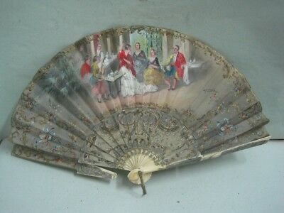 Antique fan  silk with with sevillanas and a bullfighter hand painted signed