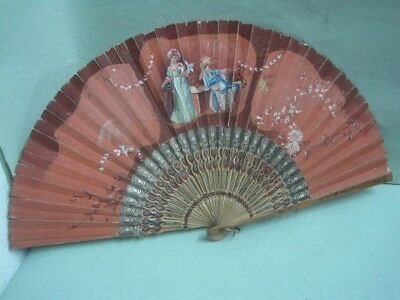 Antique  fan paper and wood with two ladys hand painted