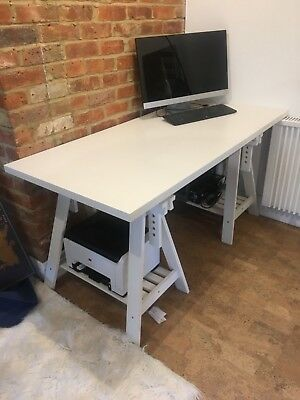 Ikea White Trestle Table Desk With Top