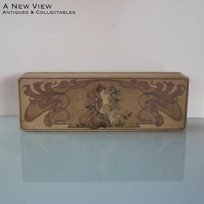 Art Nouveau glove box with lady Muscha on the front.