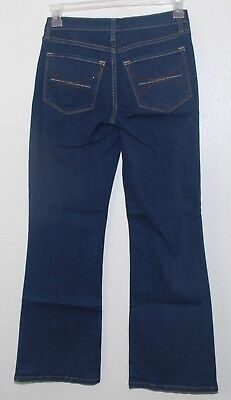 NYDJ LIFT TUCK BOOTLEG JEANS IN DARK BLUE POCKET CRYSTALS size 6P P700174 NEW